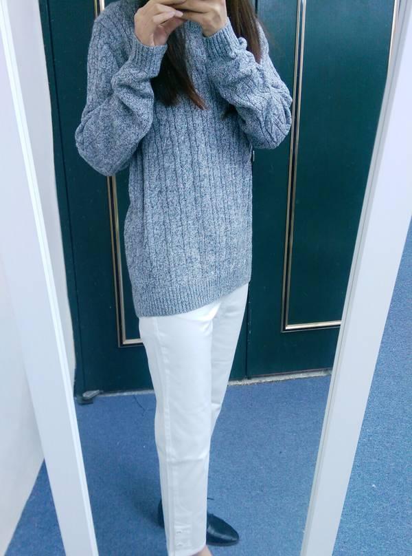 現貨-cecile舒適下擺鈕扣設計九分褲(白色/LL) 日本代購,現貨,上衣