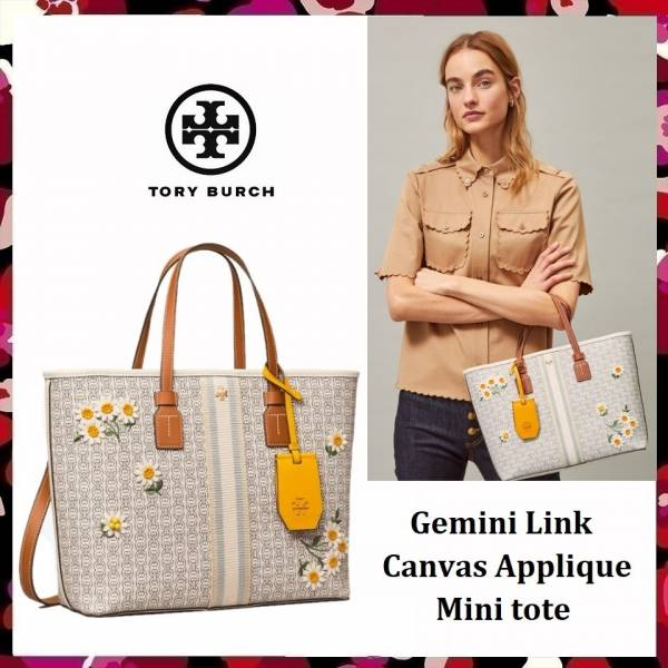 超值代購 Tory Burch Gemini Link Canvas Applique Small Tote雛菊托特包(售價已折) Tory Burch ,托特包
