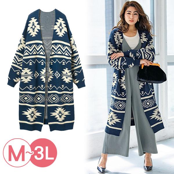 日本代購-RyuRyu mall奧特加圖案長版針織外套(3L) 日本代購,RyuRyu mall,針織