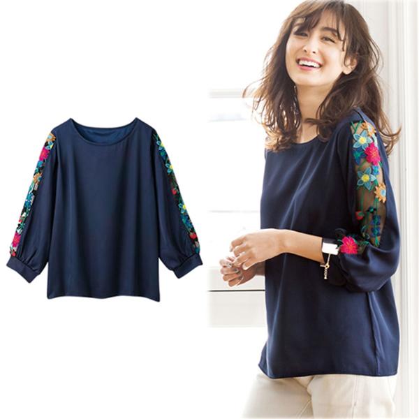 日本代購-portcros袖蕾絲設計上衣(共三色/M-3L)(售價已折) 日本代購,portcros,上衣
