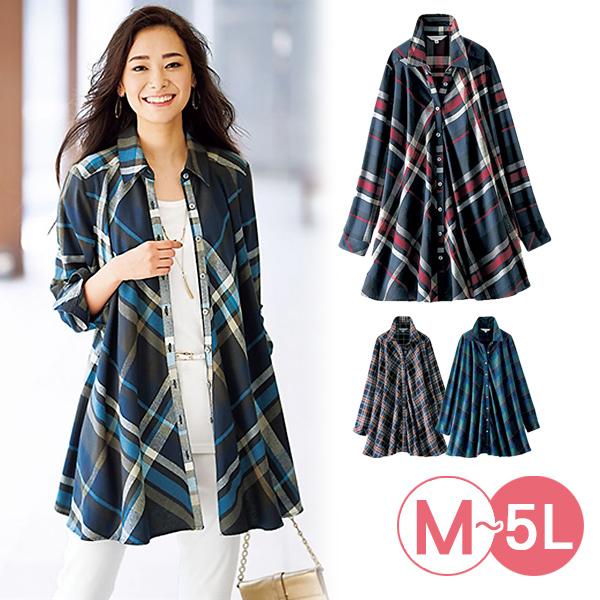 日本代購-portcros垂褶設計格紋薄法蘭絨長版襯衫(共四色/3L-5L) 日本代購,portcros,襯衫