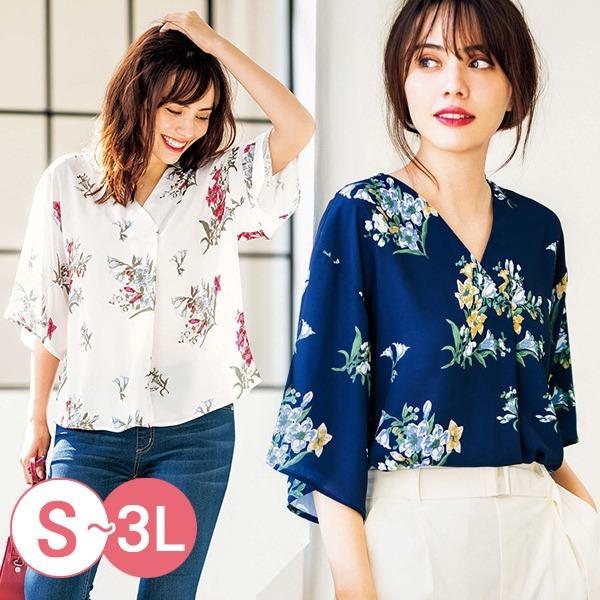 日本代購-portcros氣質折縫V領印花寬袖上衣3L(共四色) 日本代購,portcros,寬袖
