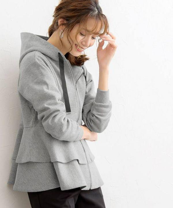 日本代購-荷葉下擺連帽外套L號 日本代購,連帽,外套