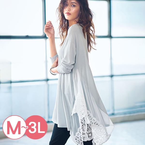 日本代購-portcros雪紡蕾絲拼接不規則長版上衣(共四色/M-LL) 日本代購,portcros,不規則