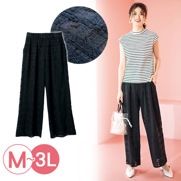 日本代購-時尚輕透格紋蕾絲直筒褲(3L) 日本代購,格紋,直筒褲