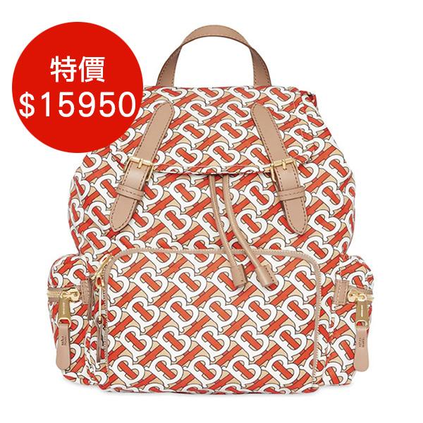 日本代購-BURBERRY 印花尼龍皮革邊飾軍旅背包 agnes b.,東區時尚,後背包