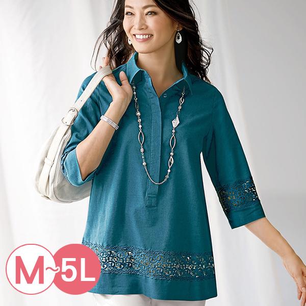 日本代購-portcros蕾絲拼接半開襟棉麻襯衫(共二色/3L-5L) 日本代購,portcros,棉麻