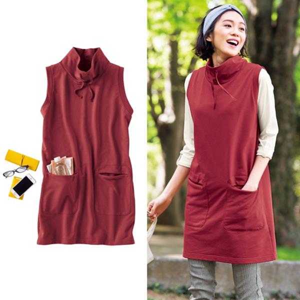 日本代購-特價高領口袋長版背心裙3L(售價已折) 日本空運,東區時尚,背心裙