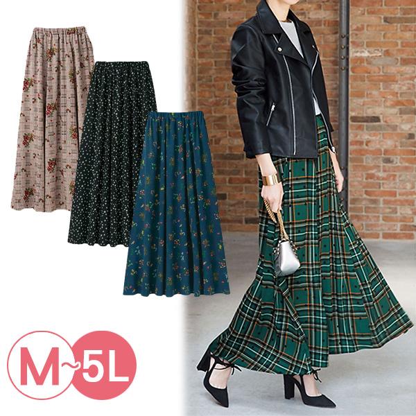日本代購-portcros時尚滿版印花鬆緊腰長裙3L-5L(共七色) 日本代購,portcros,長裙