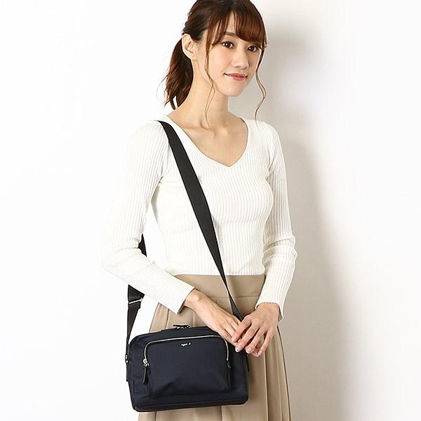 特價日本agnes b.雙層尼龍斜背包(售價已折) agnes b.,雙層尼龍斜背包