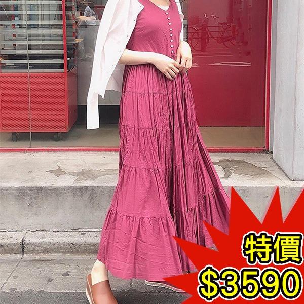 日本代購-COCO DEAL優雅層次皺褶排釦棉質背心洋裝(共四色) 日本空運,東區時尚,洋裝