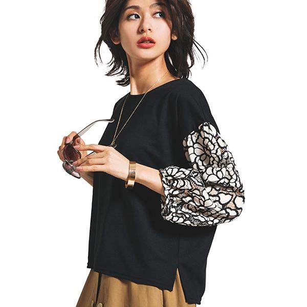 日本代購-portcros袖大花朵蕾絲設計上衣(共二色/M-LL)(售價已折) 日本代購,portcros,上衣