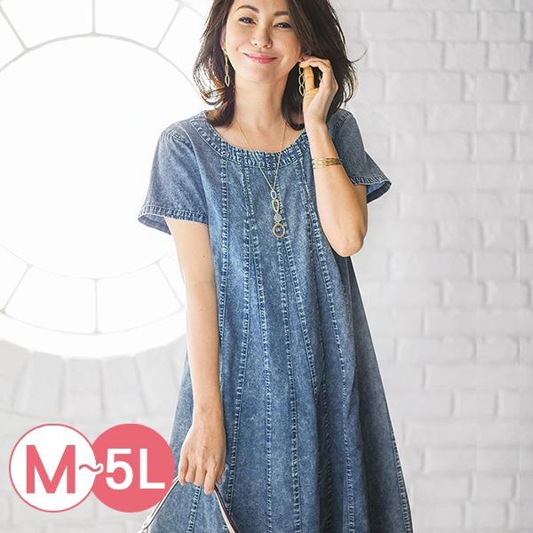 日本代購-portcros縱線剪接設計牛仔洋裝M-LL(共二色) 日本代購,portcros,牛仔