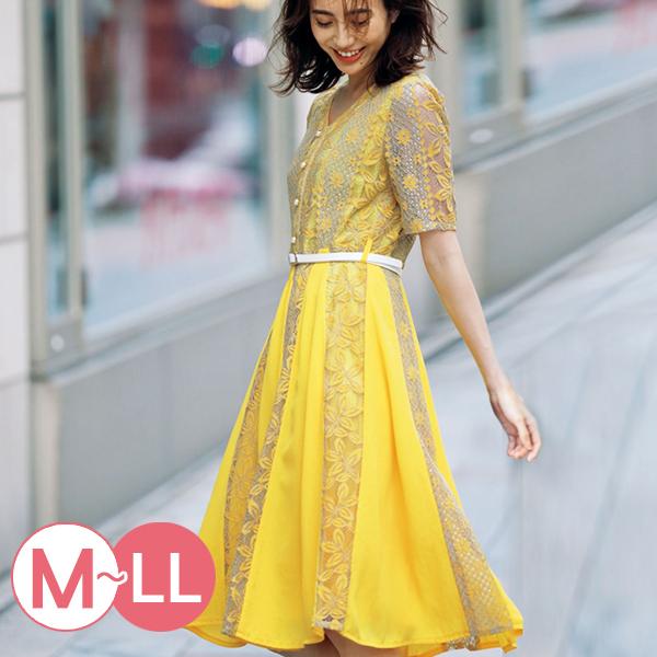 日本代購-雅緻花朵蕾絲附皮帶連身洋裝(M-LL) 日本代購,蕾絲,洋裝