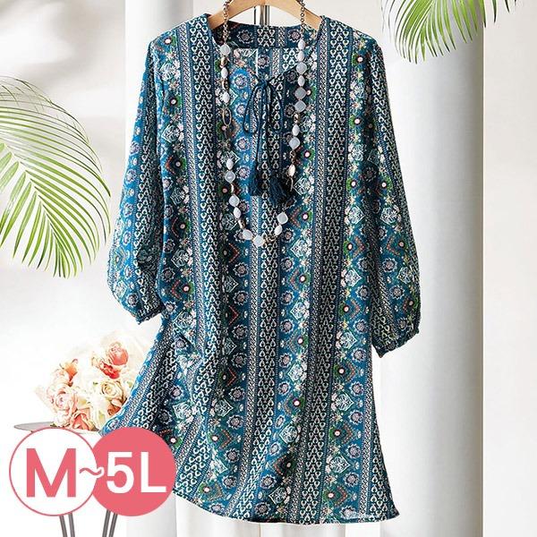 日本代購-portcros棉質長版流蘇綁結印花上衣M-LL(共二色) 日本代購,portcros,流蘇