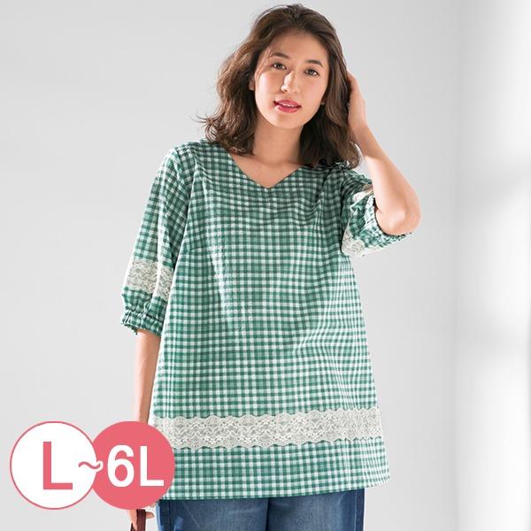 日本代購-cecile蕾絲拼接格紋泡泡袖上衣L-LL(共二色) 日本代購,CECILE,接格