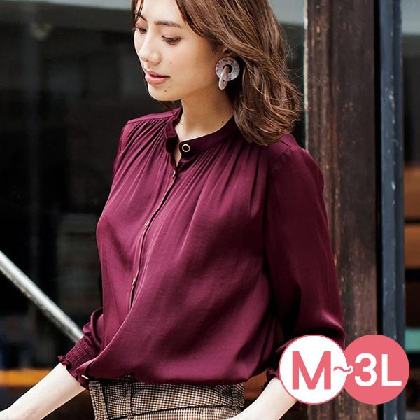 日本代購-復古皺褶設計緞料襯衫(共二色/M-LL) 日本代購,襯衫