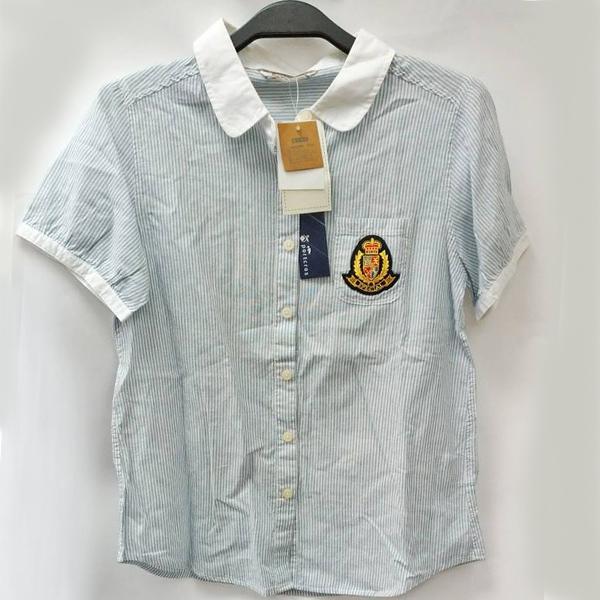 現貨-日本品牌徽章口袋白領條紋上衣 日本代購