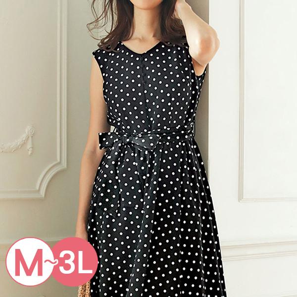 日本代購-無袖V領包釦綁帶圓點洋裝(M-LL) 日本代購,圓點,無袖