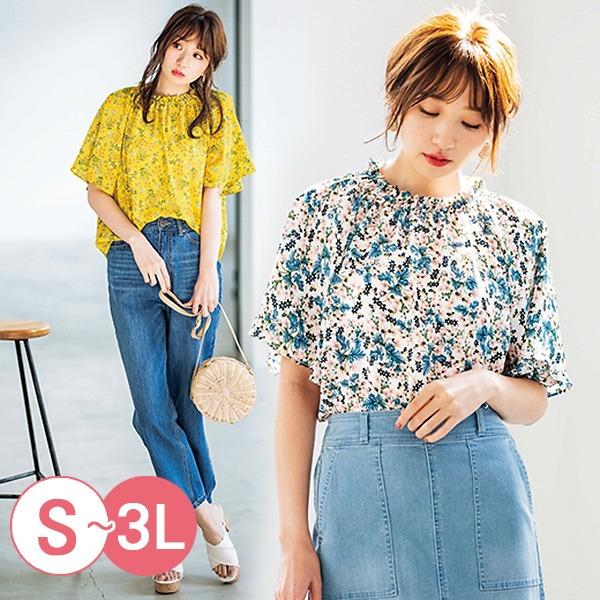 日本代購-portcros甜美小碎花皺褶領寬袖上衣3L(共四色) 日本代購,portcros,寬袖