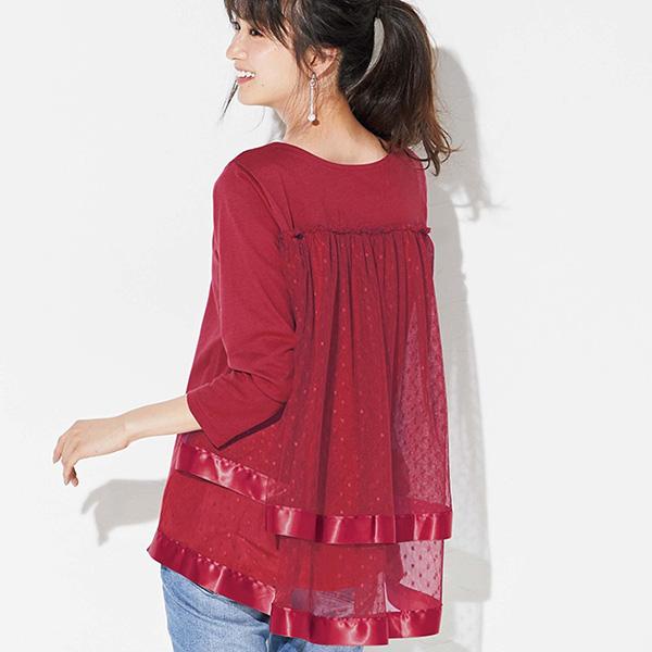 日本代購-背部雙層薄紗蕾絲上衣(共三色/S-LL)(售價已折) 日本代購,上衣
