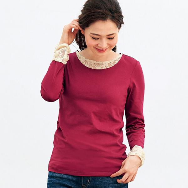 現貨-日本蕾絲花邊綴飾圓領衫(紅色/M) 日本代購,現貨,上衣