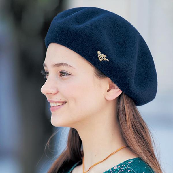 日本代購-mini labo小鳥刺繡高雅羊毛貝雷帽 東區時尚,貝雷帽