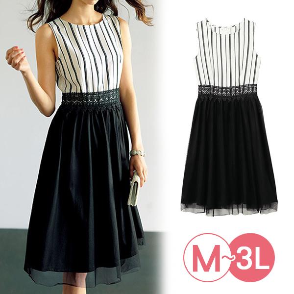 日本代購-腰部蕾絲直條紋對接連身洋裝(3L) 日本代購,蕾絲,條紋