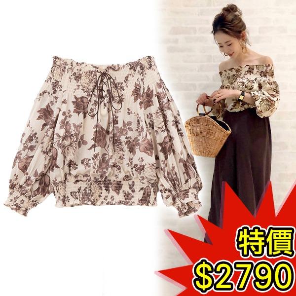 日本代購-COCO DEAL浪漫復古花卉抽褶大開領上衣(共三色) 日本空運,東區時尚,大開領