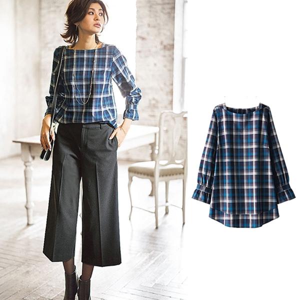 日本代購-portcros方領袖口皺褶襯衫(共四色/3L-5L) 日本代購,portcros,上衣