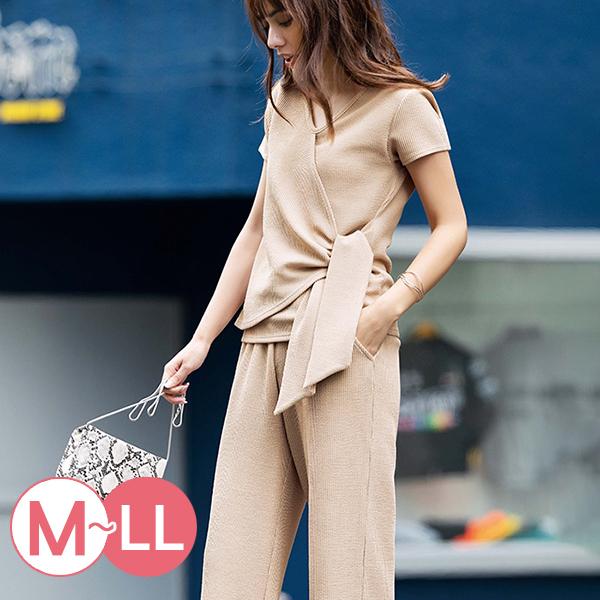 日本代購-腰間綁結設計羅紋套裝(共二色/M-LL) 日本代購,羅紋,套裝