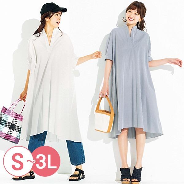 日本代購-portcros率性落肩袖長版襯衫洋裝3L(共三色) 日本代購,portcros,洋裝