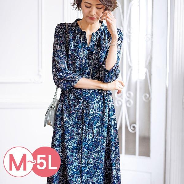 日本代購-portcros七分袖印花長版襯衫洋裝M-LL(共三色) 日本代購,portcros,洋裝