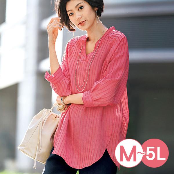 日本代購-portcros簡約提花條紋七分袖上衣(共四色/M-LL) 日本代購,portcros,條紋