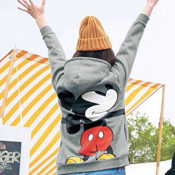 日本代購-特價迪士尼DISNEY愛的抱抱米奇/米妮/維尼裏刷毛連帽T恤(S-3L)(售價已折) 日本空運,東區時尚,連帽,外套
