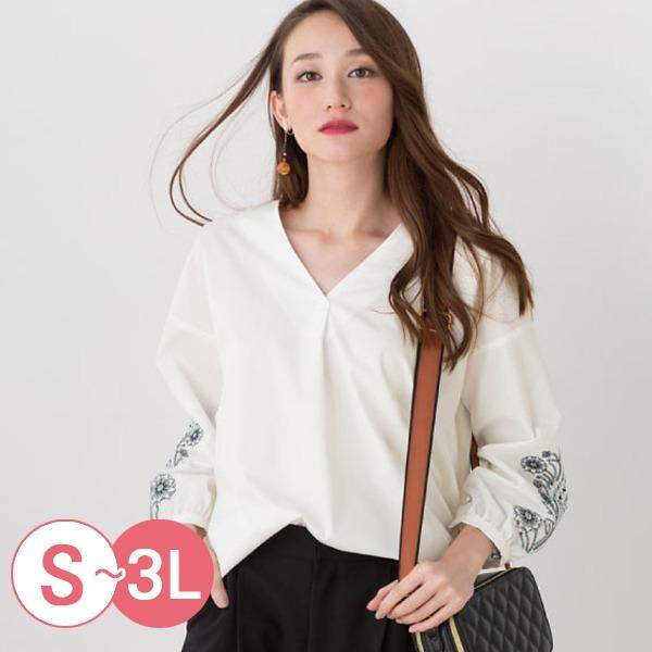 日本代購-cecile前短後長刺繡V領上衣3L(共三色) 日本代購,CECILE,刺繡