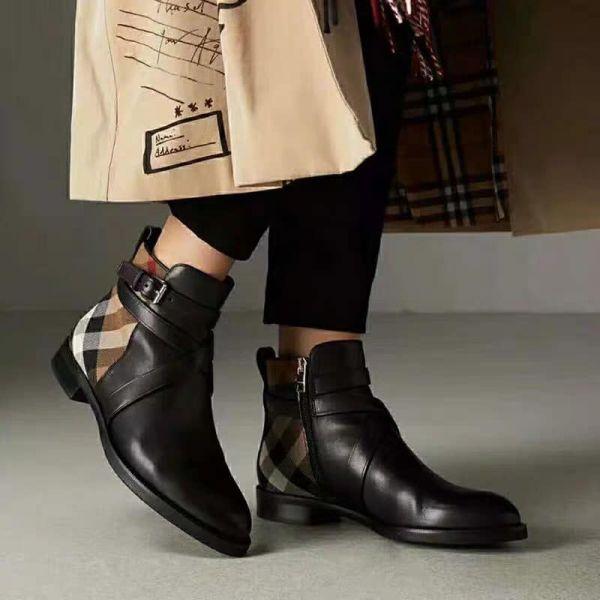 日本代購-BURBERRY 經典格紋配牛皮短靴 agnes b.,東區時尚,BURBERRY,牛皮,短靴