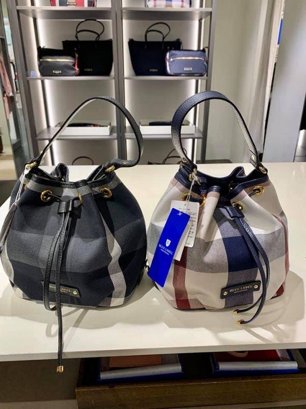 特價日本製BLUE LABEL 格紋配皮2way水桶包(售價已折) BLUE LABEL 格紋配皮2way水桶包