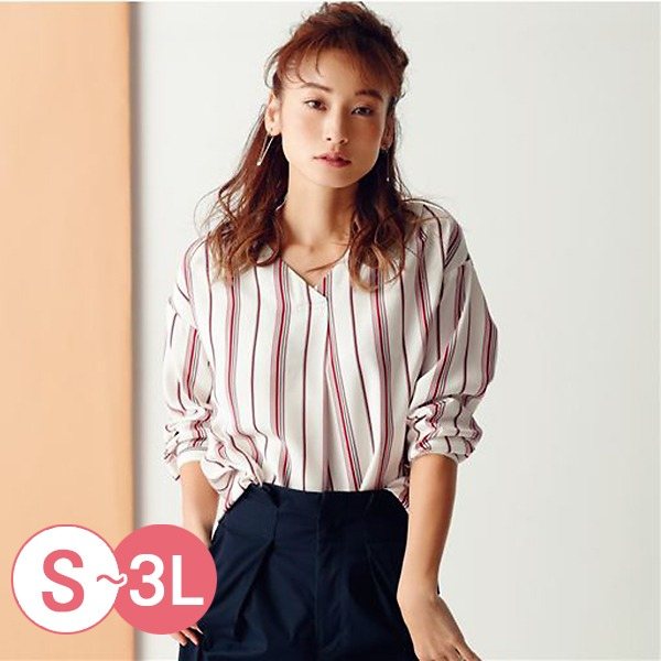 日本代購-cecile經典折縫V領襯衫S-LL(共三色) 日本代購,CECILE,V領