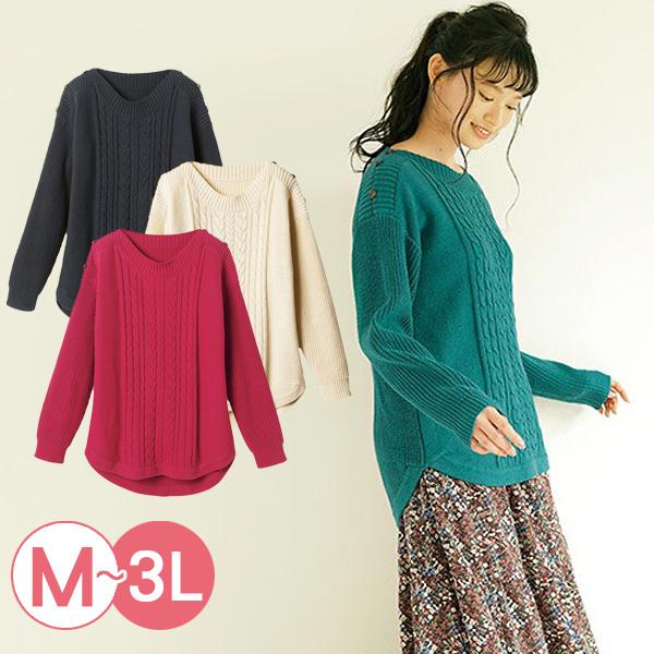 日本代購-RyuRyu mall肩鈕釦裝飾圓弧下擺針織衫(共四色/3L) 日本代購,RyuRyu mall,針織
