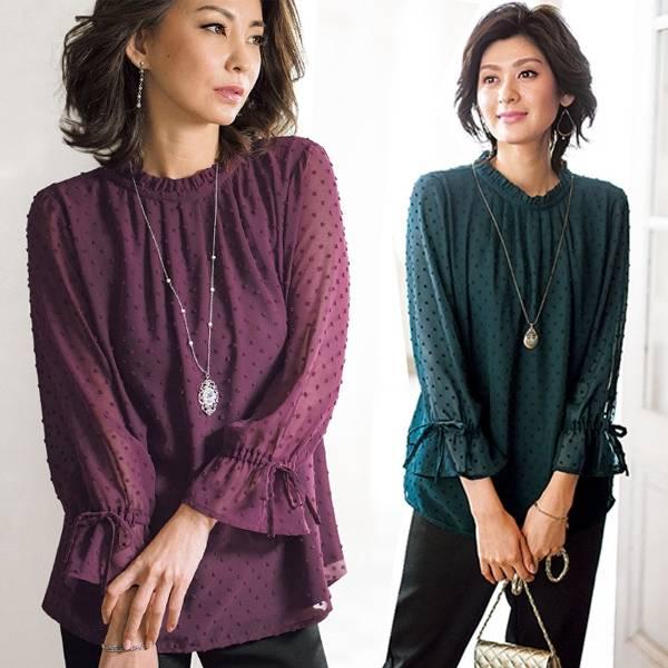 日本代購-portcros皺褶領袖綁結點點上衣(共四色/3L-5L) 日本代購,portcros,上衣