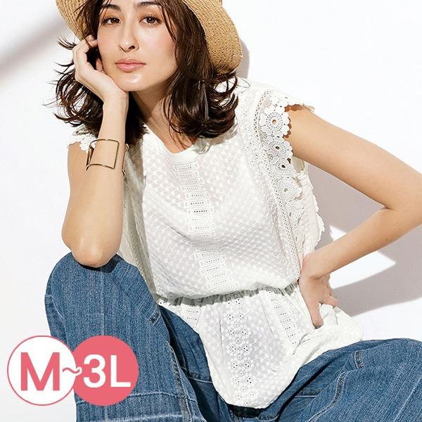日本代購-portcros蕾絲設計縮腰棉質上衣M-LL 日本代購,portcros,蕾絲