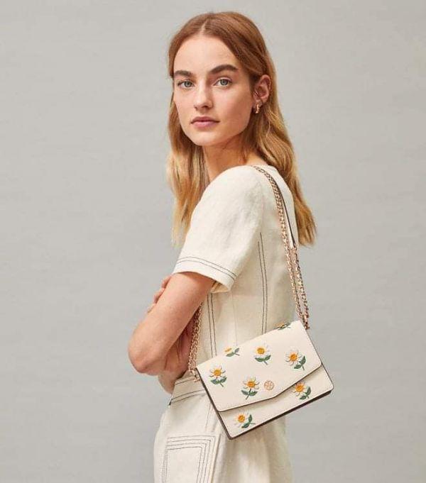 超值代購 Tory Burch Robinson Embroidered Mini Shoulder Bag雛菊肩背包(售價已折) Tory Burch ,牛皮