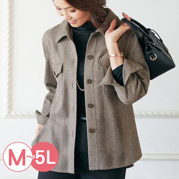 日本代購-簡約九分袖毛呢襯衫夾克(共四色/M-LL) 日本代購,九分袖,毛呢