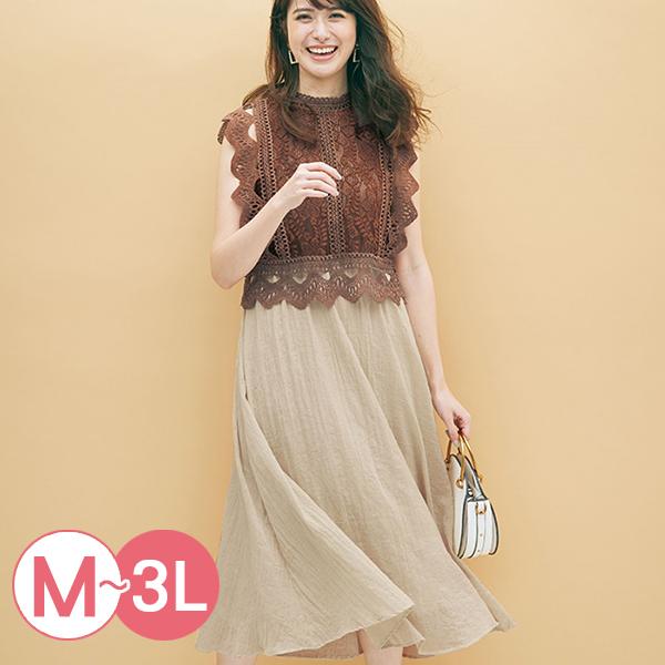日本代購-portcros高雅蕾絲上衣對接連身洋裝(M-LL) 日本代購,portcros,蕾絲