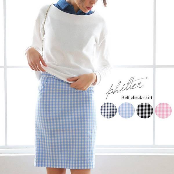 日本ANNA LUNA 現貨-附腰帶條格布鉛筆裙(淺藍/L) 日本代購,現貨,長褲