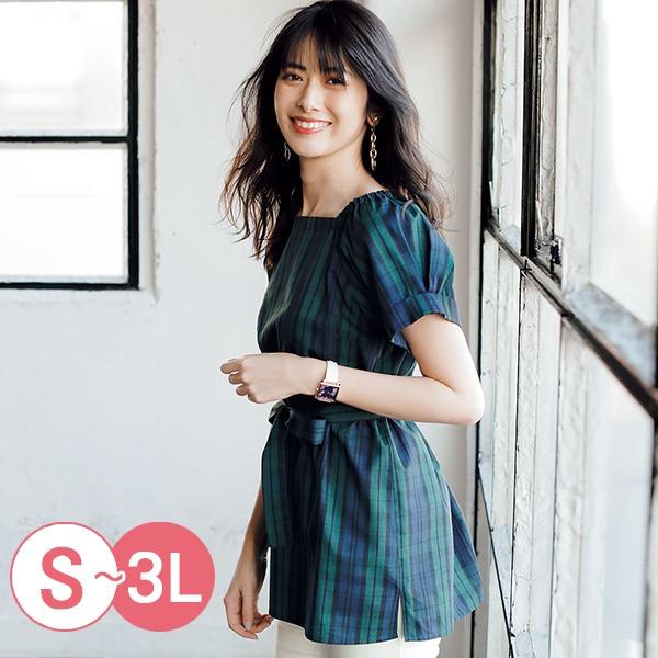 日本代購-cecile抽褶公主袖綁帶上衣S-LL(共三色) 日本代購,CECILE,公主袖