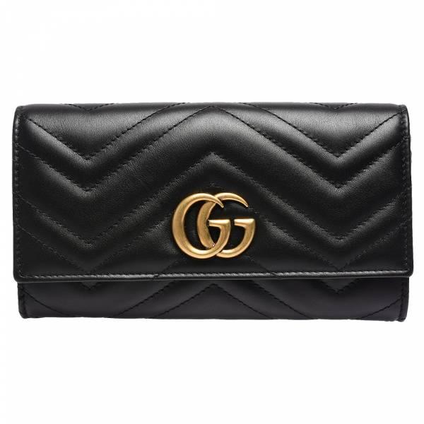 超值代購特價GUCCI GG Marmont 絎縫紋牛皮金屬雙G LOGO翻蓋長夾(售價已折) GUCCI 長夾