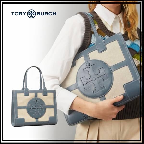 TORY BURCH Ella Canvas Quadrant Mini Tote帆布配皮托特包 TORY BURCH Tote