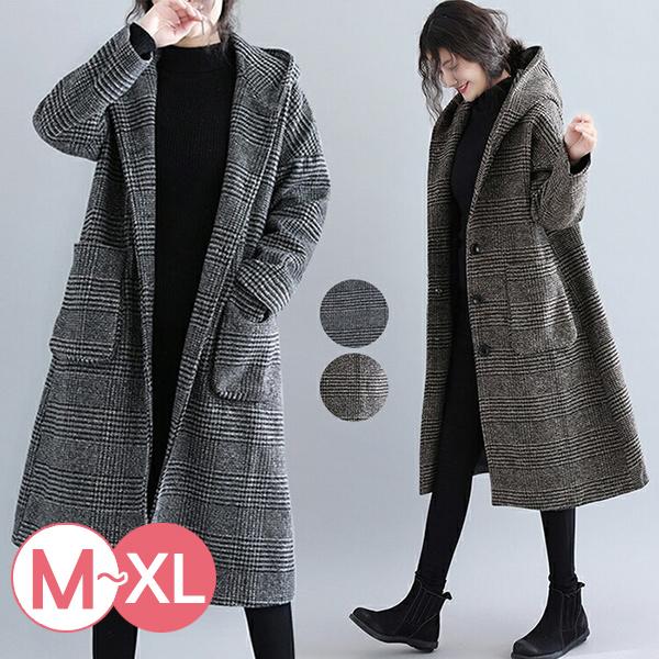 日本代購-英倫格紋連帽長大衣(共二色/M-XL) 日本代購,格紋,連帽